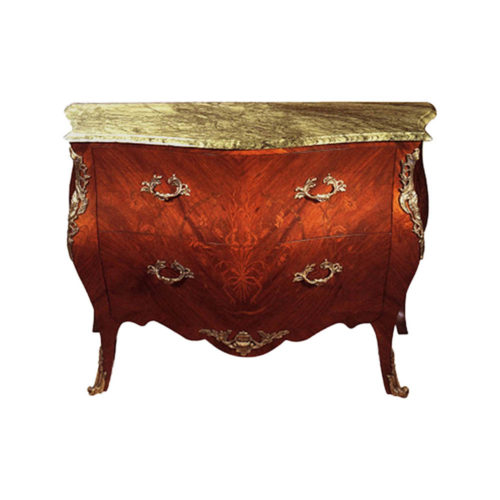 French Marble Top Chest of 2 Drawers with Hand Carved Marquetry and Brass Ornament