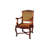 French Rattan Armchair with Hand Carved Wood 1