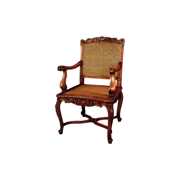 French Rattan Armchair with Hand Carved Wood