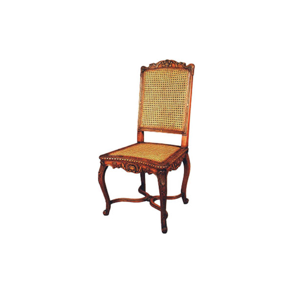 French Rattan Dining Chair Detailed Hand Carved Beach Wood