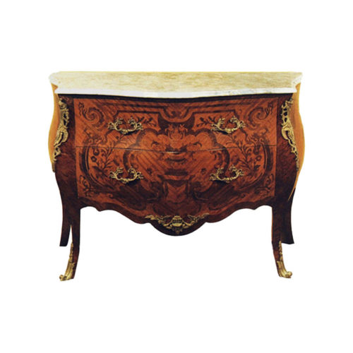 French Reproduction Chest Of Drawers With Marble Top
