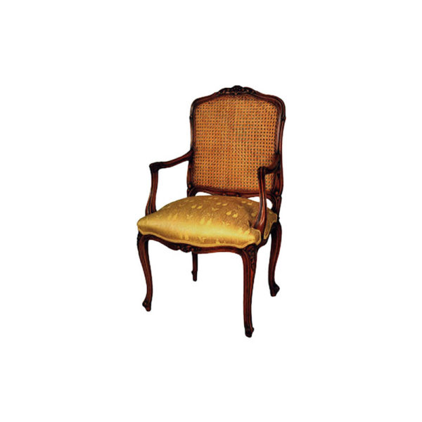 French Style Armchair Rattan Back Upholstery Luxury Fabric Seater