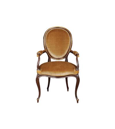 French Style Oval Armchair Desert Velvet Upholstery Fabric