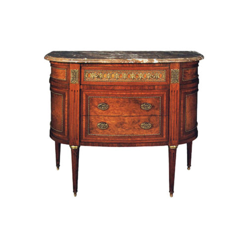 Natural Veneer Chest of Drawers with Marble Top