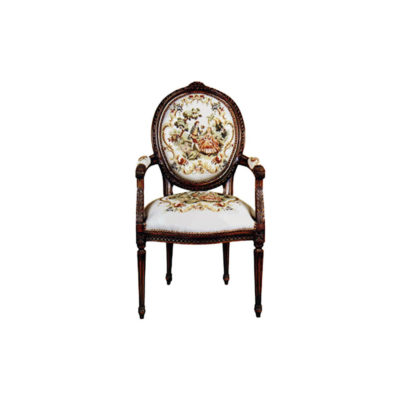 Vintage Armchair with French Style Tapestry Upholstery A