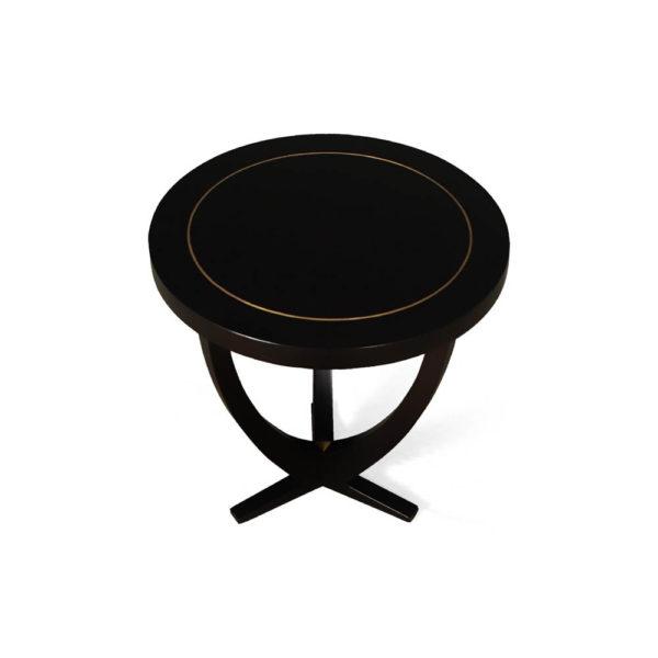 Austin Circular Cross Leg Wood Top Side Table Copper Top Brown