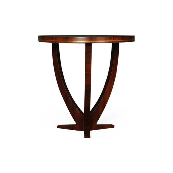 Austin Circular Cross Leg Wood Top Side Table Copper Top Edge