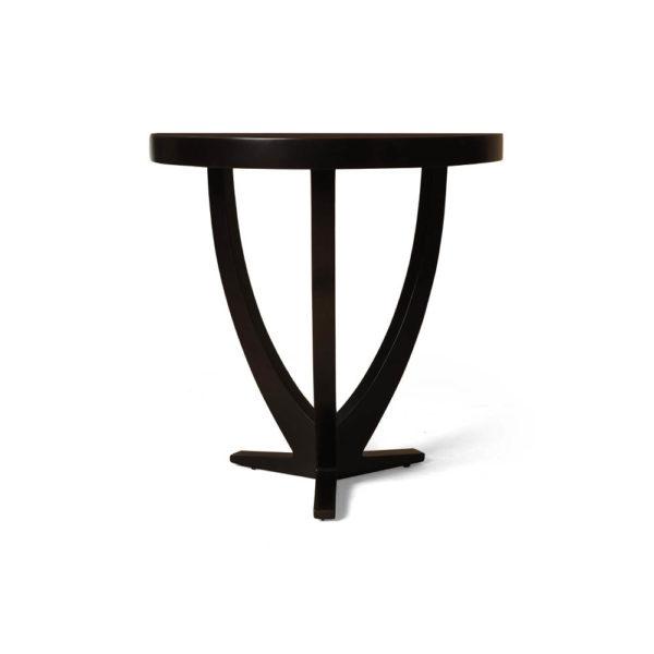 Austin Circular Cross Leg Wood Top Side Table Copper Top Front