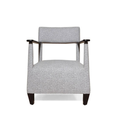 Bentley Grey Upholstered Armchair with Black Wooden Arms