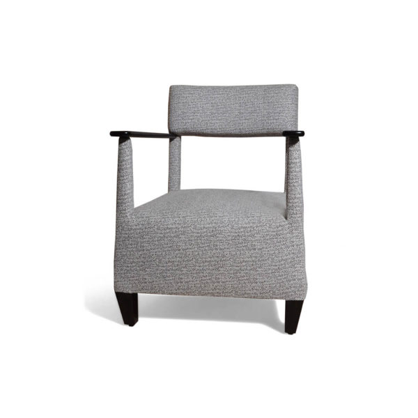 Bentley Upholstered Armchair with Black Wooden Arms Front