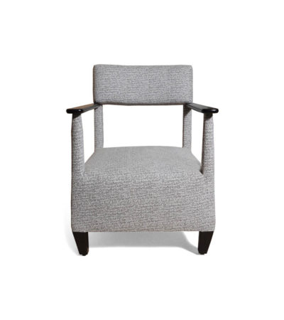 Bentley Upholstered Armchair with Black Wooden Arms Front View