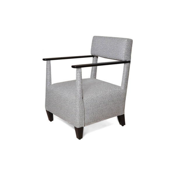 Bentley Upholstered Armchair with Black Wooden Arms Left