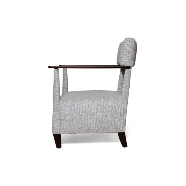Bentley Upholstered Armchair with Black Wooden Arms Left Side View