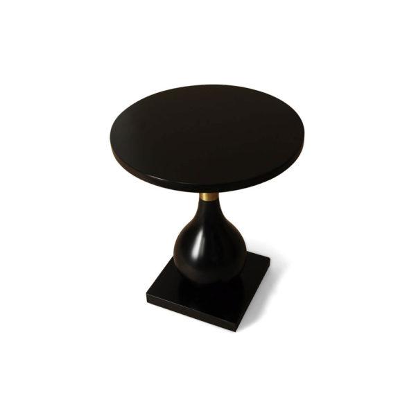 Cinnabar Round Black High Gloss Side Table Top