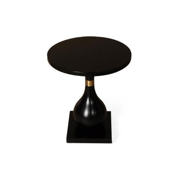 Cinnabar Round Black High Gloss Side Table Top View
