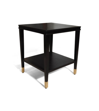 Damian Wood Square Side Table with Brass