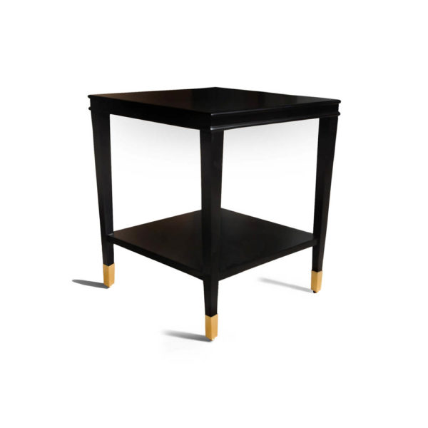 Damian Wood Square Side Table with Brass Beside View