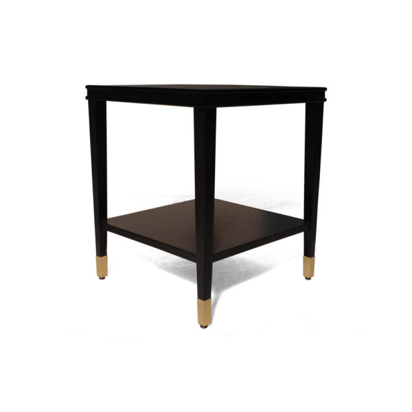 Damian Wood Square Side Table with Brass Corner