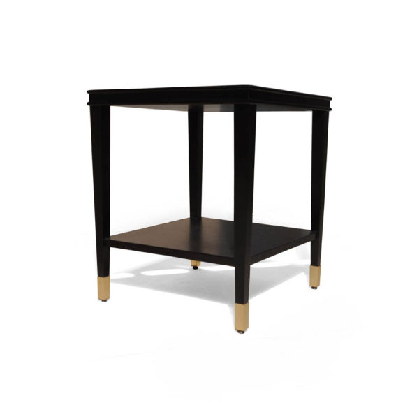 Damian Wood Square Side Table with Brass Corner View