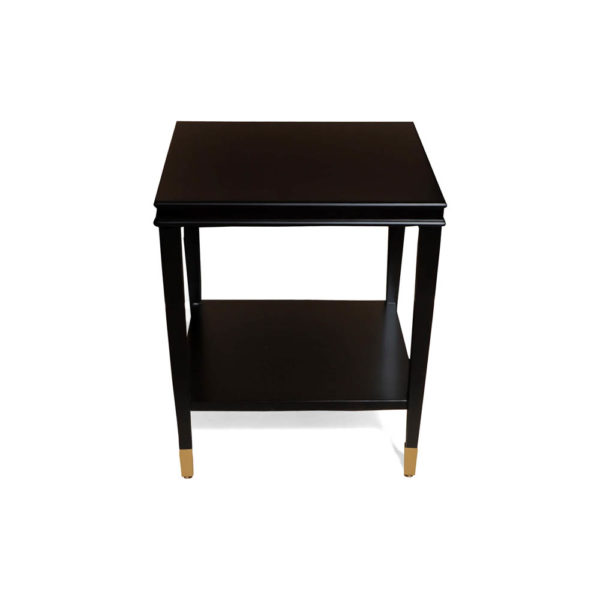 Damian Wood Square Side Table with Brass Front View