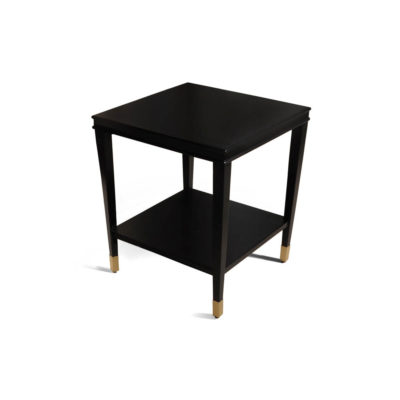 Damian Wood Square Side Table with Brass Top View