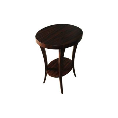 Gael Oval Dark Wood Side Table with Shelf