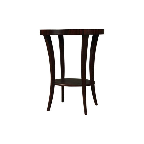 Gael Oval Dark Wood Side Table with Shelf Brown