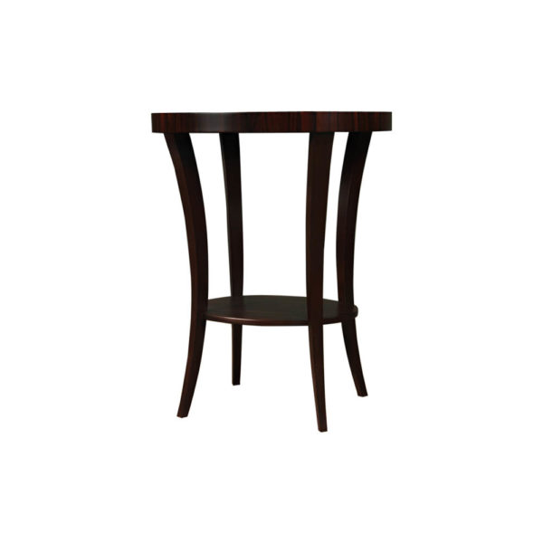 Gael Oval Dark Wood Side Table with Shelf Front