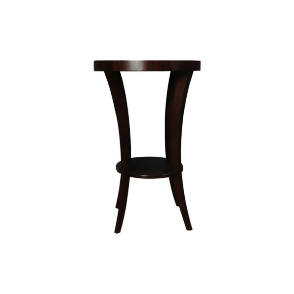 Gael Oval Dark Wood Side Table with Shelf Side View