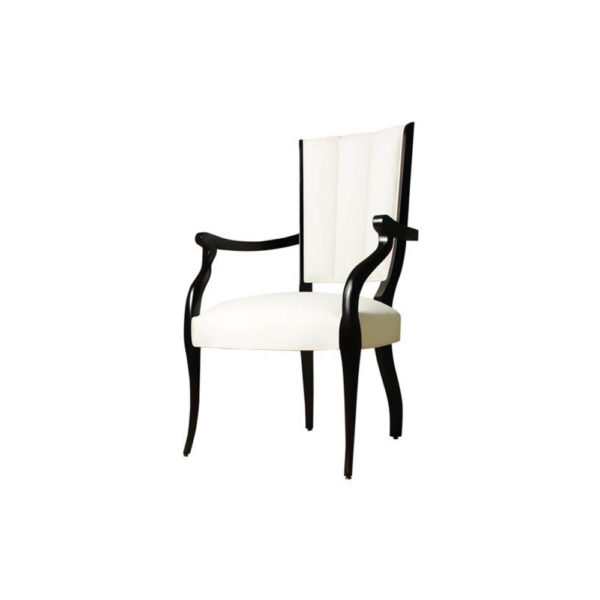 Grace Upholstered High Back Dining Arm Chair Left Side View