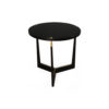 Hector Round Black Side Table with Brass Inlay 1