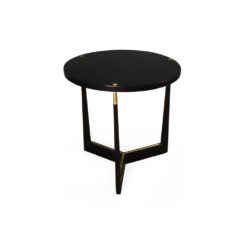 Hector Round Black Side Table with Brass Inlay