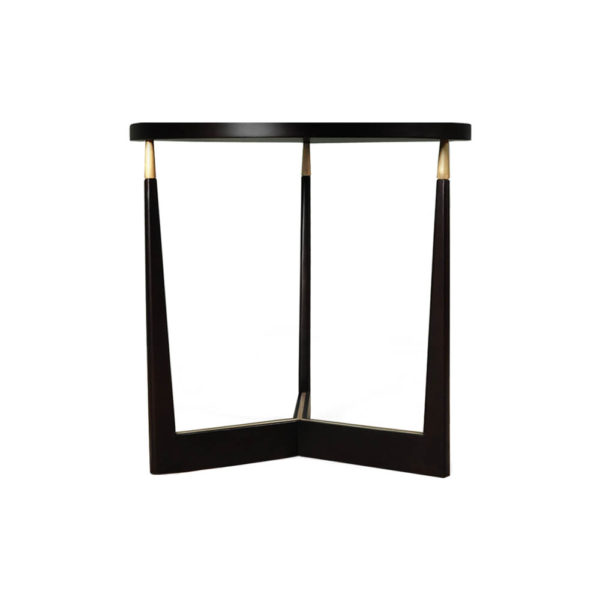Hector Round Black Side Table with Brass Inlay Front