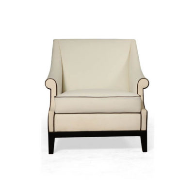 Kingston Upholstered Rolled Arm Chair with Wooden Legs