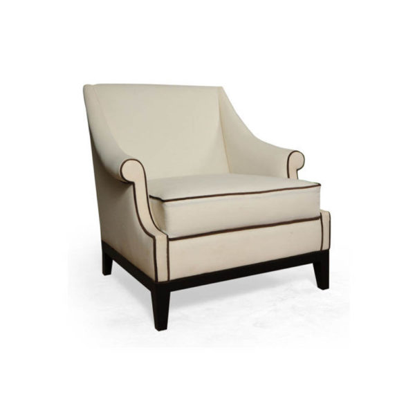 Kingston Upholstered Rolled Arm Chair with Wooden Legs Beside View