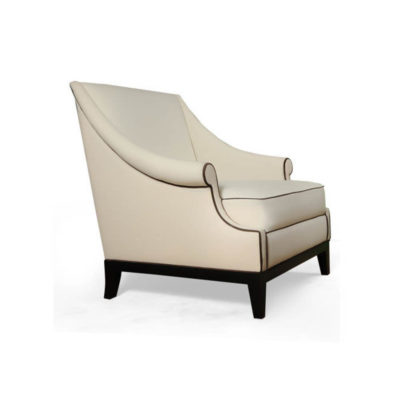 Kingston Upholstered Rolled Arm Chair with Wooden Legs Right Side View