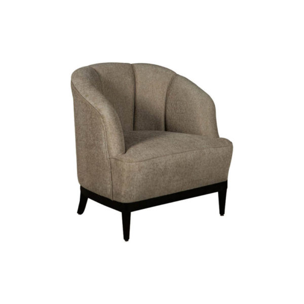 Romans Upholstered Strip Round Armchair Beside View