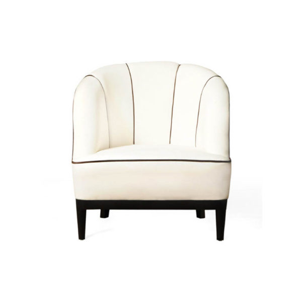 Romans Upholstered Strip Round Armchair Front