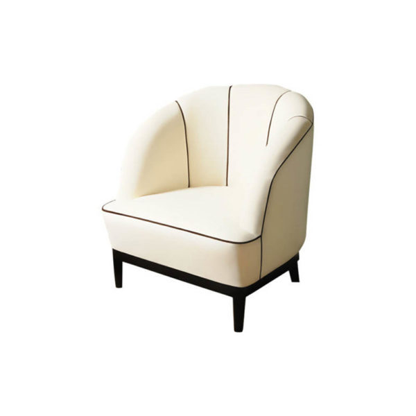 Romans Upholstered Strip Round Armchair Left Side View