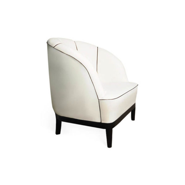 Romans Upholstered Strip Round Armchair Right Side View