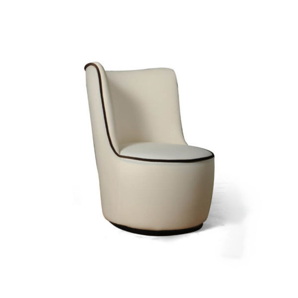 Skylar Upholstered Round Armless Occasional Chair Side View