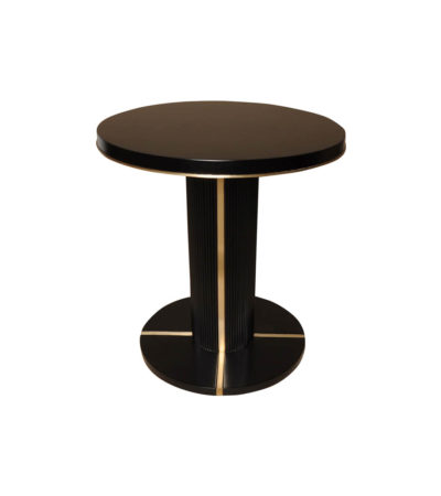 Zion Dark Brown Wooden with Gold Frame Side Table
