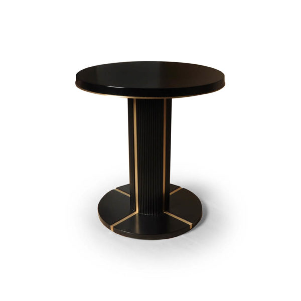 Zion Dark Brown Wooden with Gold Frame Side Table Front