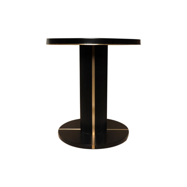 Zion Dark Brown Wooden with Gold Frame Side Table View