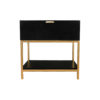 Alania Black Bedside Table with Shelf and Drawer 1