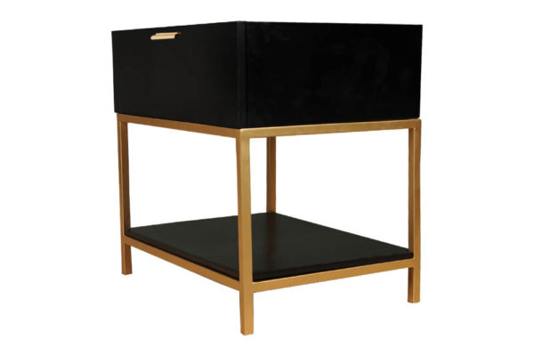Alania Black Bedside Table with Shelf and Drawer Left Side View