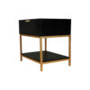 Alania Black Bedside Table with Shelf and Drawer 3
