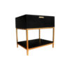 Alania Black Bedside Table with Shelf and Drawer 2