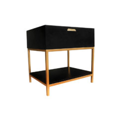 Alania Black Bedside Table with Shelf and Drawer Right Side view