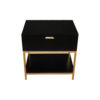 Alania Black Bedside Table with Shelf and Drawer 4